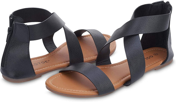 Gold Toe Women's Criss Cross Strap Sandal - Open Toe Fashion Summer Slide Shoe Black