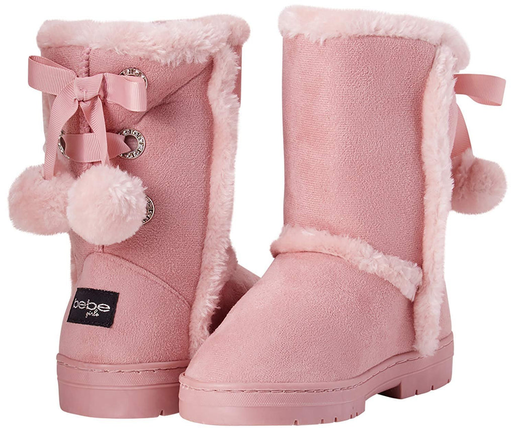 bebe Girls' Fur Trimming Winter Boots with Back Lace Up (Toddler/Little Girl/Big Girl)