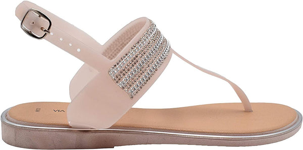 Via Rosa Women's PCU T-Strap Thong Sandal with Rhinestones, Metallic Chain and Adjustable Back Strap - Fashion Bling Summer Shoes