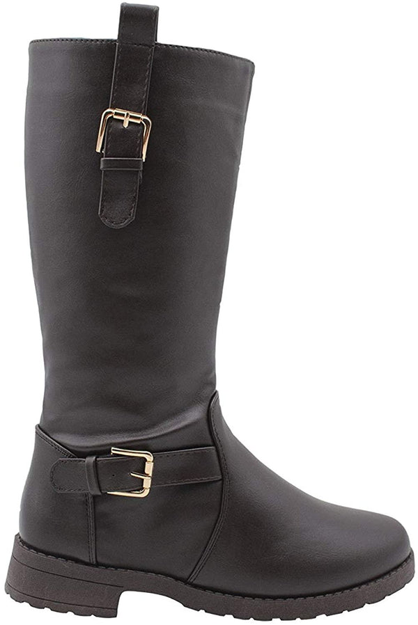 Via Rosa Womens Slip On Tall Winter Boots with Buckle Straps