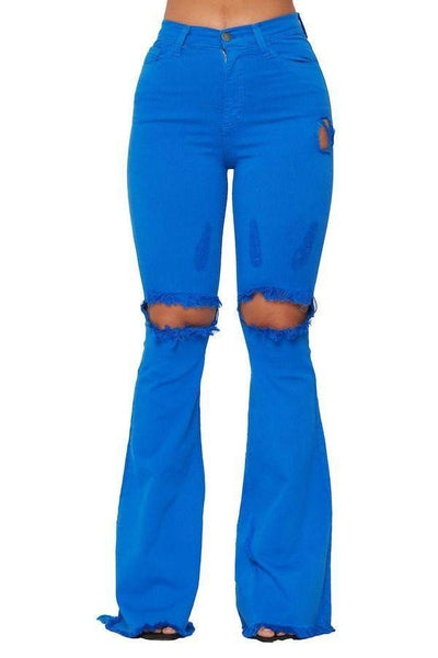 Royal Blue Denim Bell Bottoms - 33 Wishes