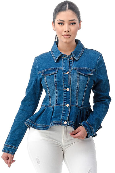 Denim Peplum Jacket - 33 Wishes Clothing Boutique