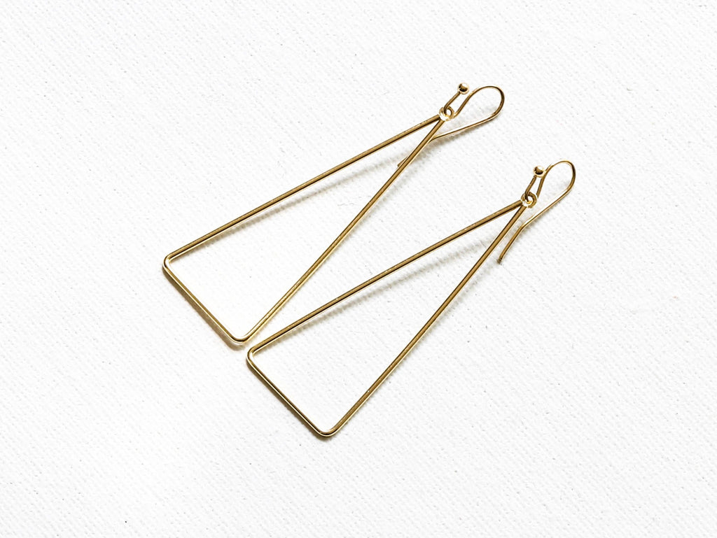 Big Metal London Triangle Drop Earrings Gold