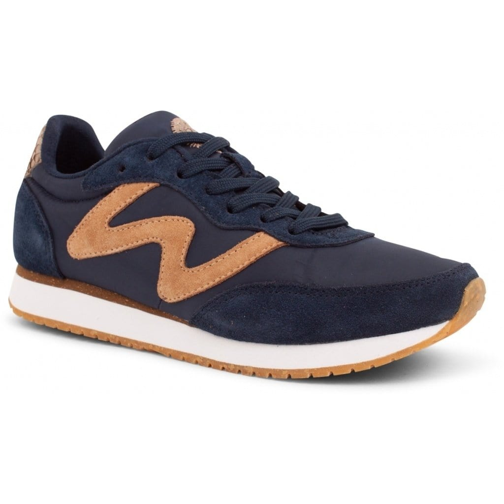 Woden Navy Tan Leather Retro Sneakers