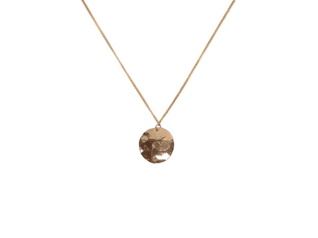 Big Metal London Solid Disc Necklace Rose Gold