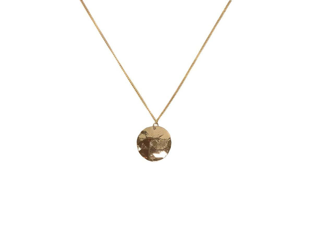 Big Metal London Solid Disc Necklace Gold