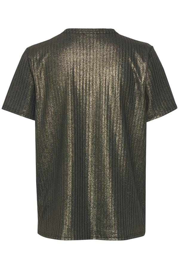 Saint Tropez Slinky Metallic Top Gold