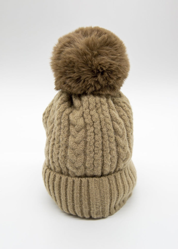 Cashmere Blend Bobble Hat Taupe