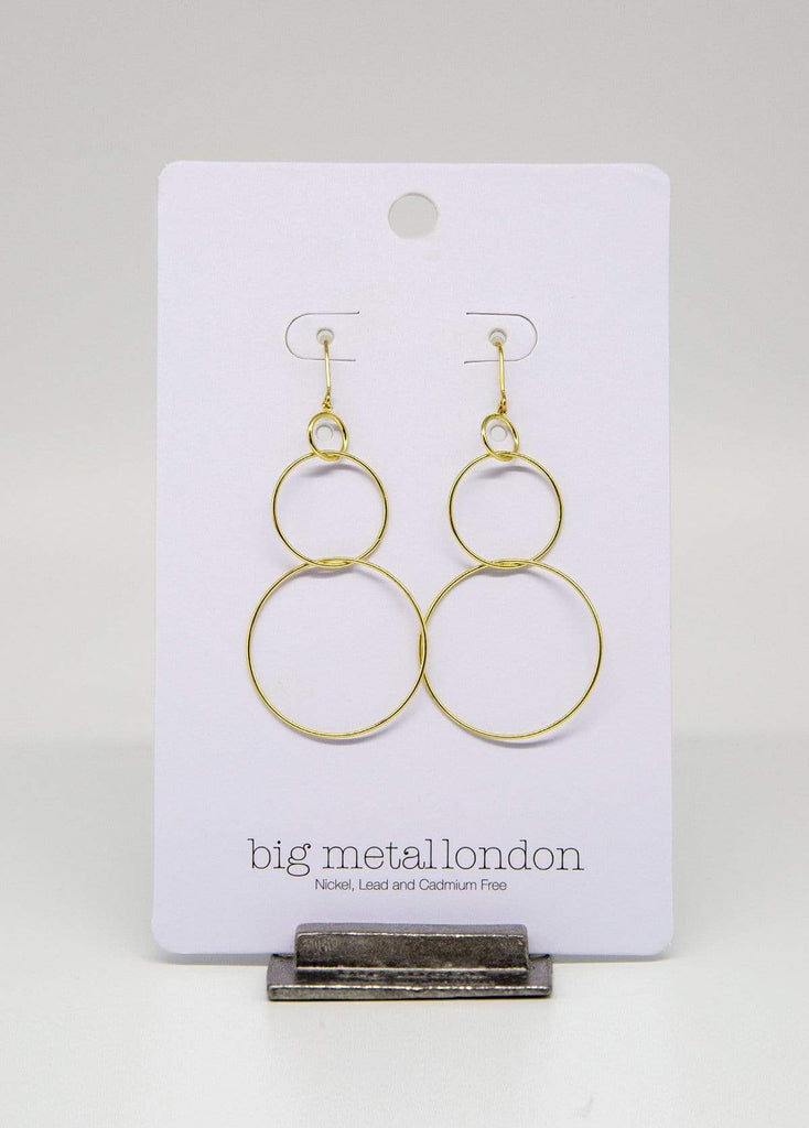 Big Metal London Triple Hoop Earrings Gold