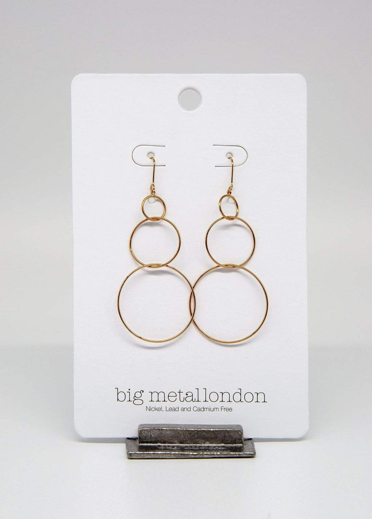 Big Metal London Triple Hoop Earrings Rose Gold