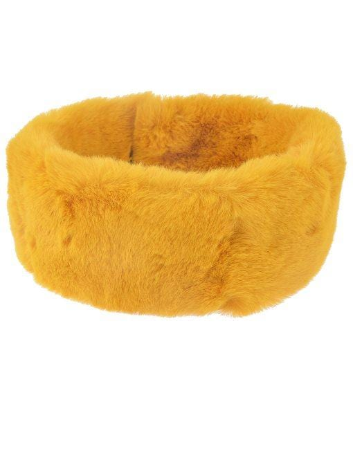 Faux Fur Collar Various Colours Mustard Yellow