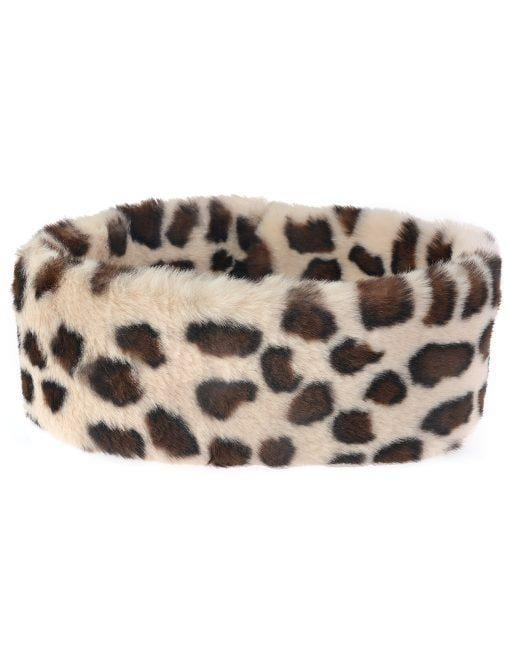 Faux Fur Collar Various Colours Pale leopard