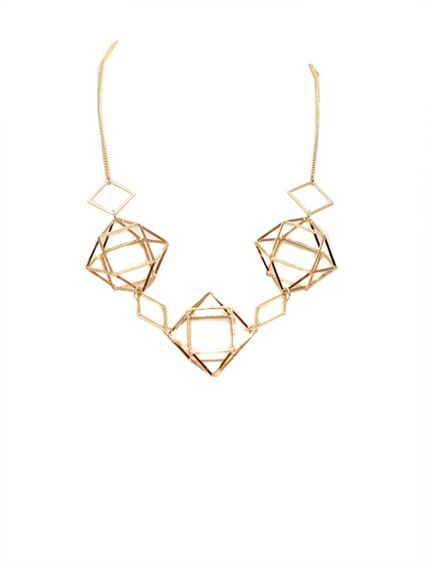 Big Metal London Geometric Caged Necklace Gold