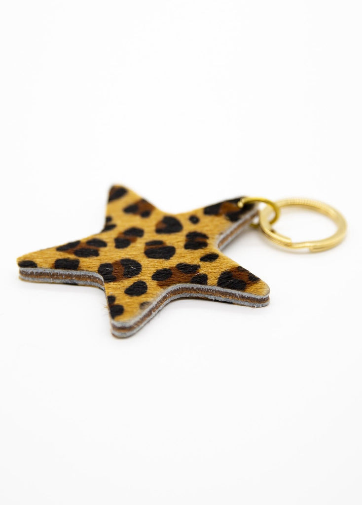 Leather Keyring Various Prints Leopard