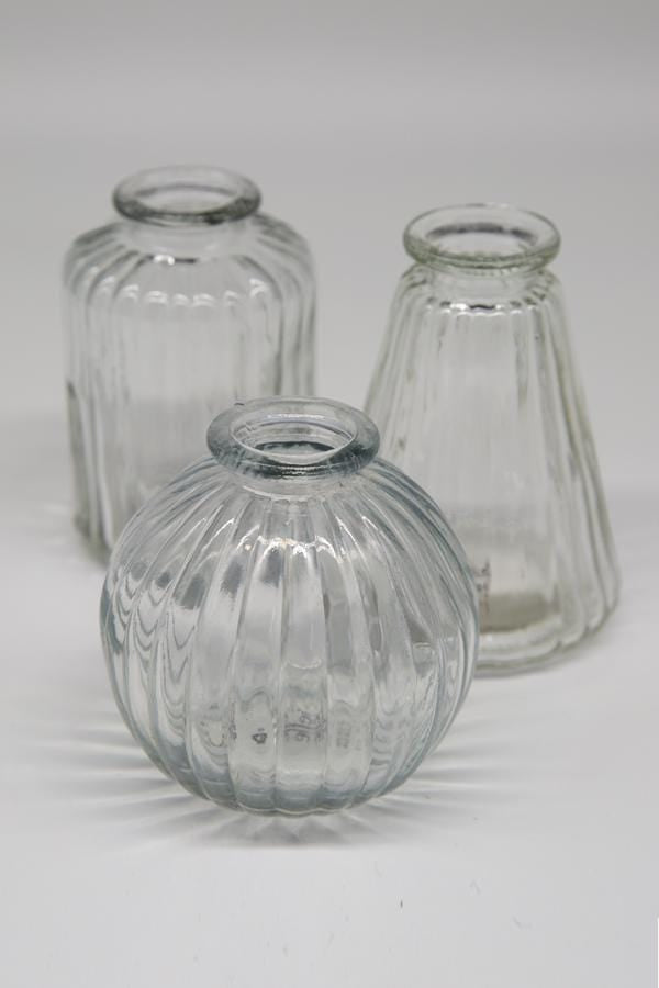 Trio Clear Glass Bud Vases