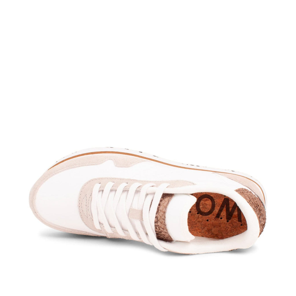 WODEN Nora Plateau Suede Mesh Sneakers White Tan