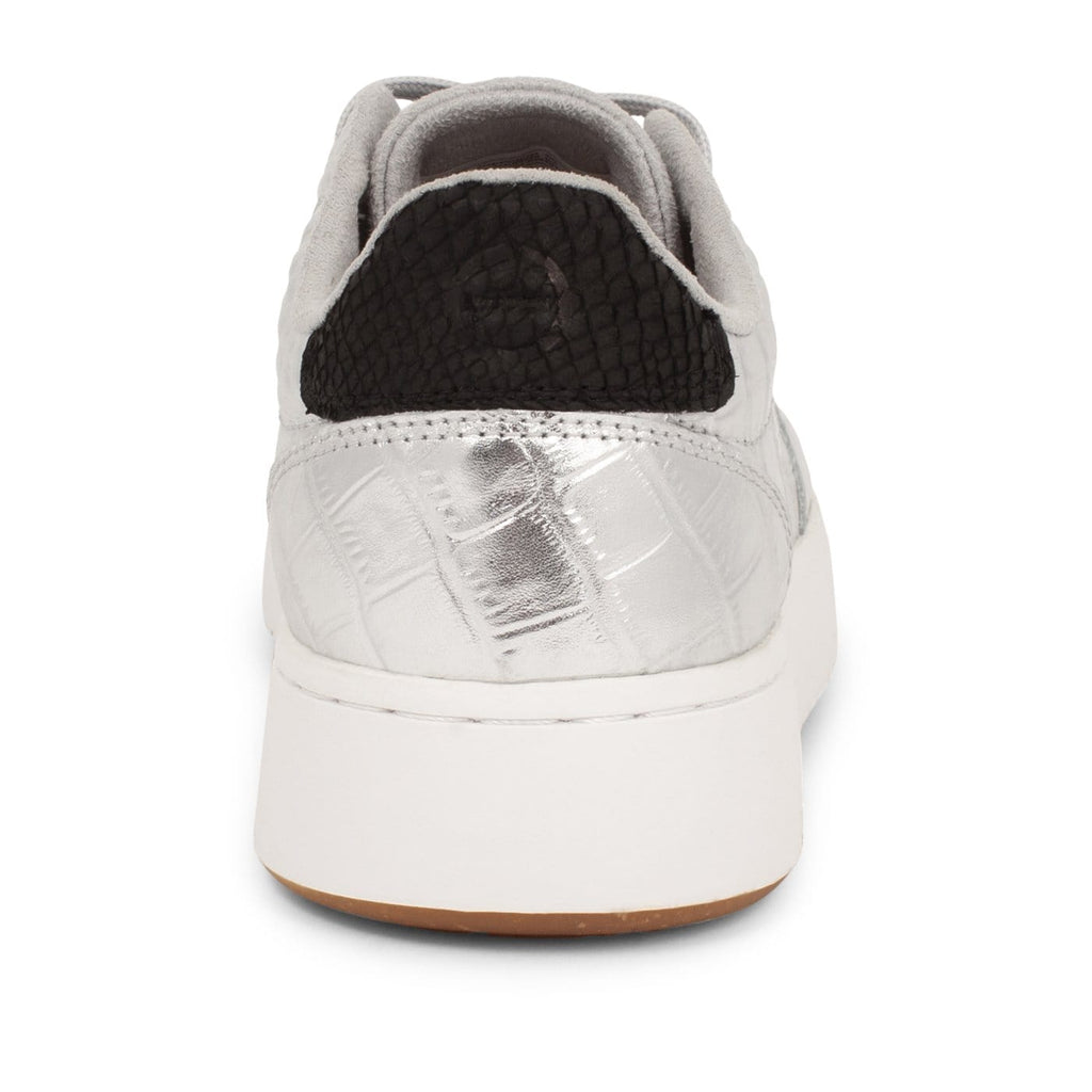 WODEN Silver Croc Leather Trainers