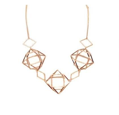 Big Metal London Geometric Caged Necklace Rose Gold