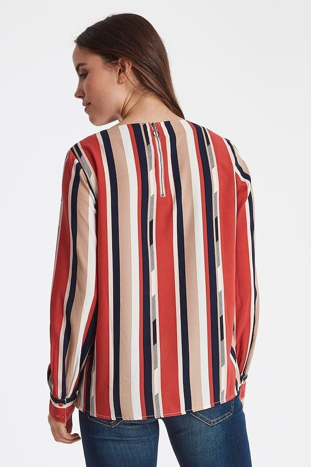 Fransa Stripe Blouse Navy Ivory Taupe Red
