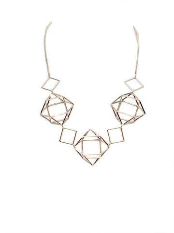 Big Metal London Geometric Caged Silver Necklace