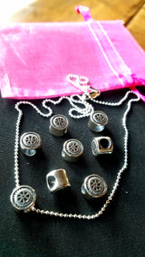 Mini Wheel Sterling Silver Bead Necklace