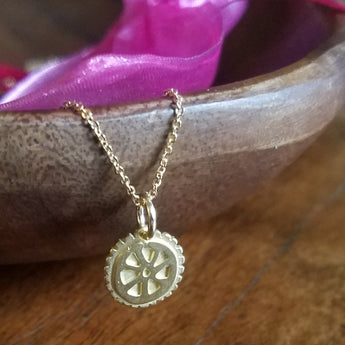 Cycling Chicks Gold Mini Wheel Necklace