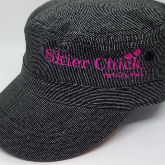 Skier Chick Houndstooth Military Hat