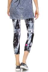 Brush Strokes Capri Leggings with Slanted Mesh Window