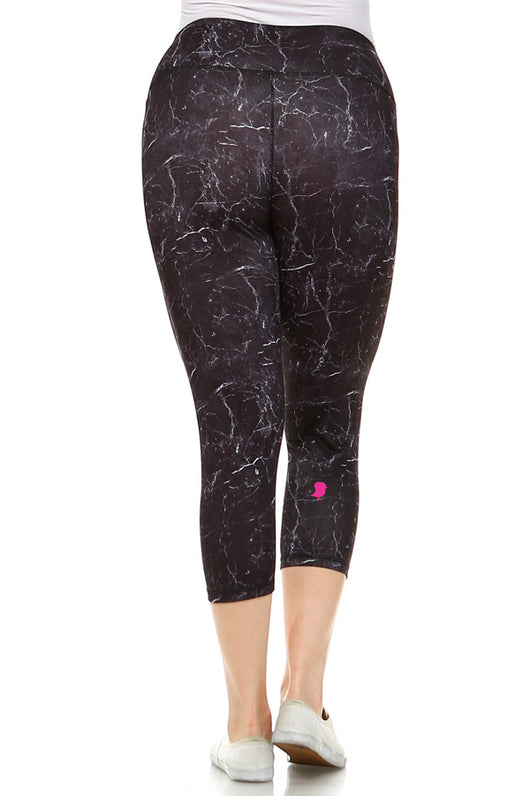 Black Marble Capri Plus Leggings