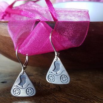 Cycling Chicks Sterling Silver Triangle Earrings