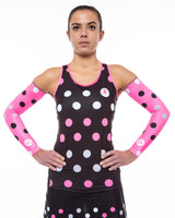 Cycling Chicks Fluro Hot Pink Polka Dot Arm Sleeves
