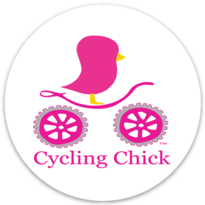 Cycling Chick Round Sticker