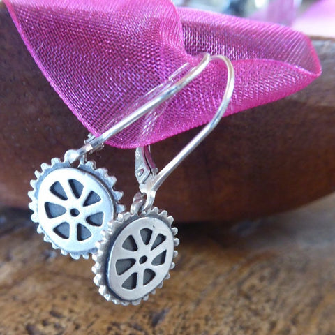 Classic Cycling Wheel Sterling Silver Earrings