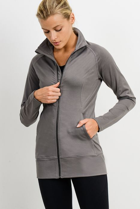 High Collar Long Line Active Jacket