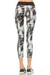 Yoga Chick Monochromatic Splatter Print Capri Leggings