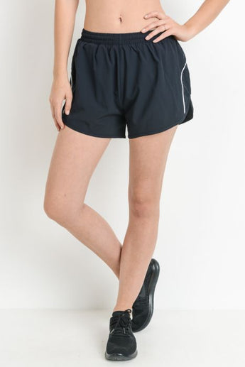 White Stripe Running Short with Zip Pocket