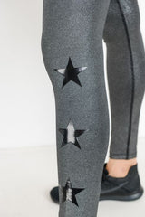 Glitter Grey Triple Star Full Leggings