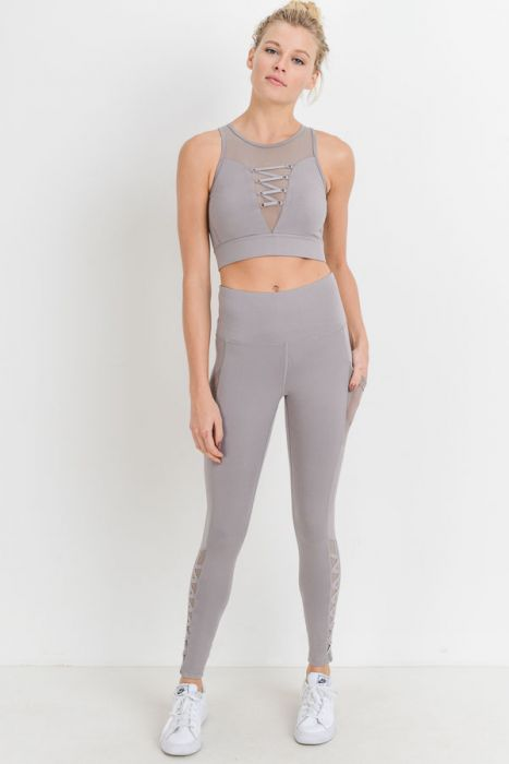 Highwaist Mesh & Lattice Straps Full Leggings