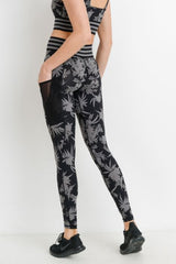 Highwaist Striped Band Tropical Full Leggings w/side pocket