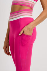 Hot Pink Striped Waistband Full Leggings