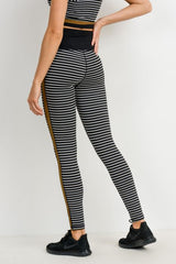 Striped Full Leggings with Gold Side Stripe