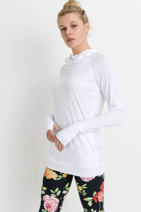 Active Chick Hoodie with Thumbholes and Zippered Pocket