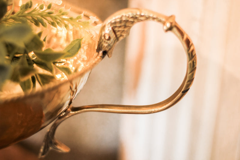 Gold Brass Urn Vase & Greenery