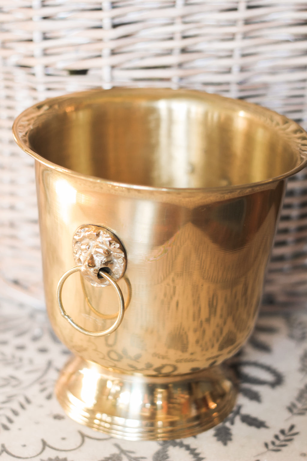Brass Bucket and Greenery