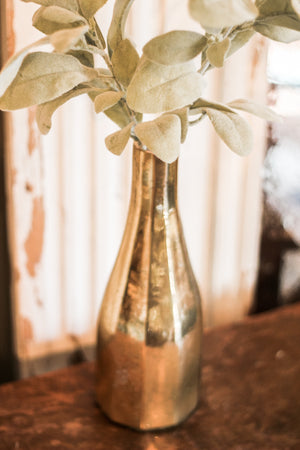 Mercury Gold Vase & Greenery