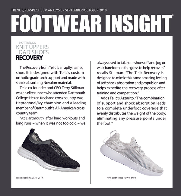 TELIC RECOVERY FEATURED IN FOOTWEAR INSIGHT - SEPTEMBER/OCTOBER 2018