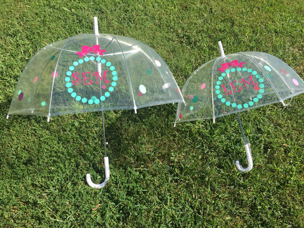 Mother Daughter matching Monogrammed umbrella, personalized Umbrella, great gift, bridesmaid gift, dome umbrella Monogram Umbrella bubble