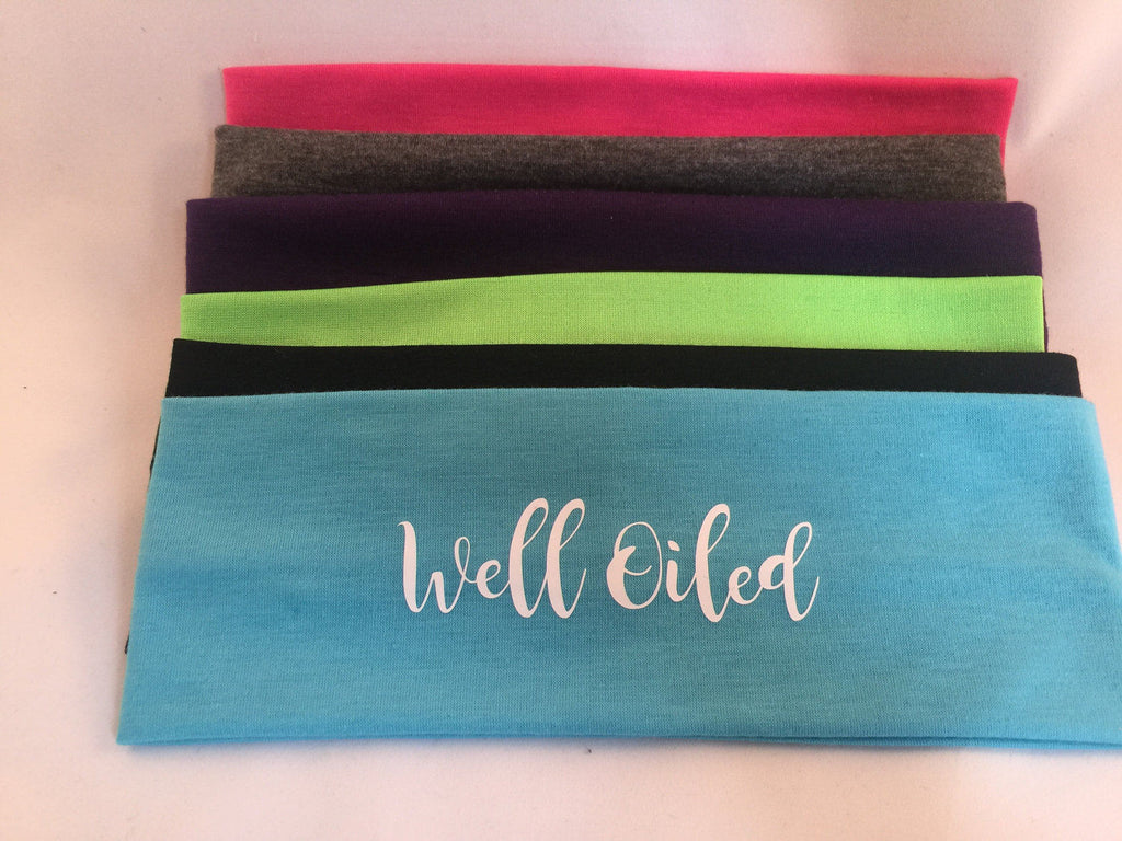 Well oiled, essential oils Cotton Headbands set of 12, Assorted Colors - Stretch Elastic Headbands  Teens Women Girls, oily, well oiled