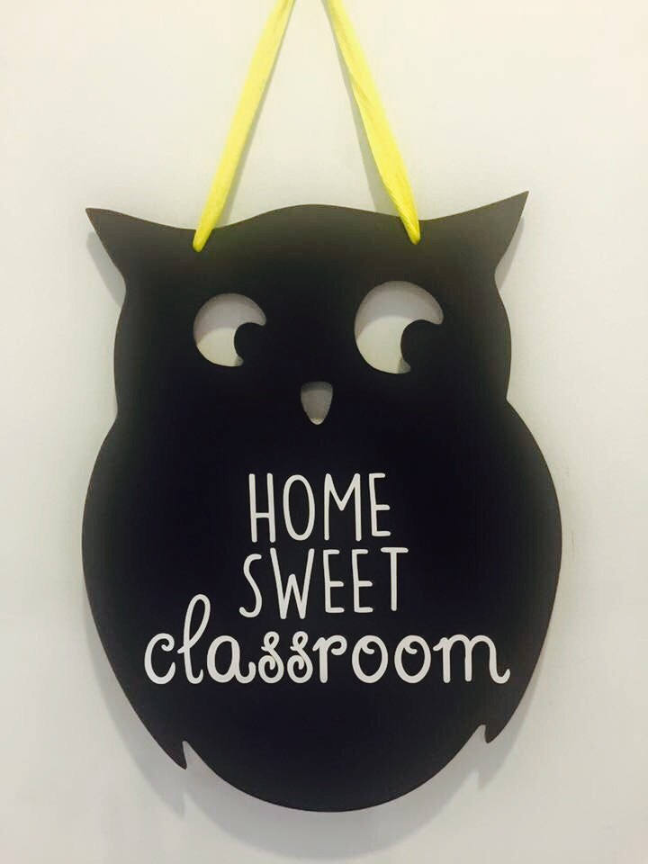 Teacher Appreciation Gift Wood Owl Sign, school Teacher, Teachers owl sign with name, classroom Decor Home Sweet Classroom