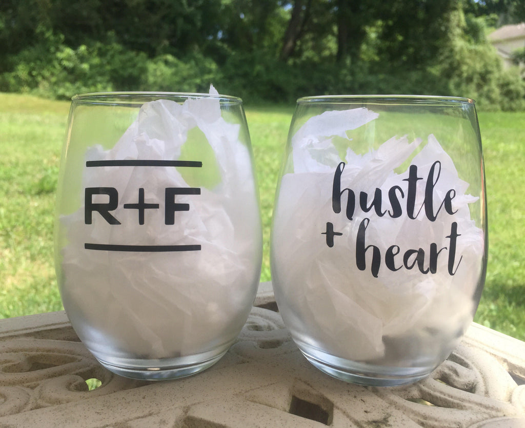 Rodan and Fields inspired Wine Glass, Hustle and Heart R + F Up line, promotions, Rodan and Fields RF PC